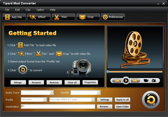 interface n How to convert Mod/Tod Video to popular video formats