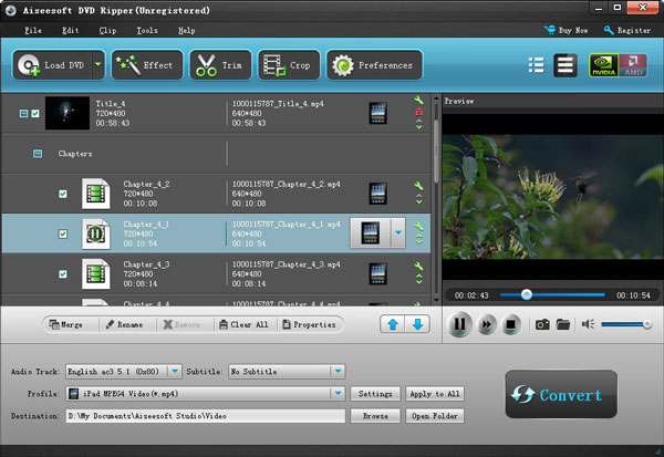 interface of aiseesoft dvd ripper