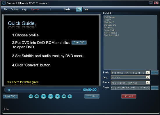 interface of cucusoft dvd converter