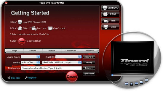 interface of Tipard DVD Ripper for Mac