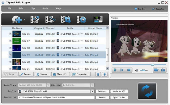 interface of tipard dvd ripper