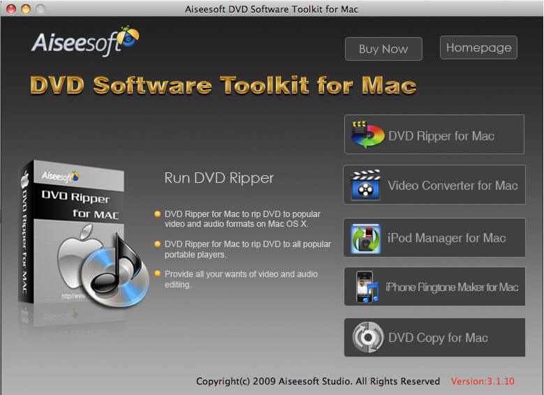 Aiseesoft DVD Software Toolkit for Mac, Mac DVD rip/Mac MPEG