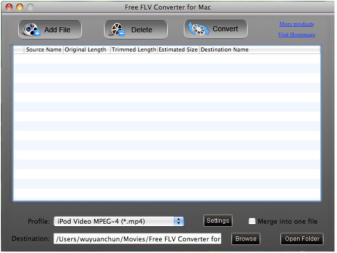 It is a free tool to convert FLV on Mac.