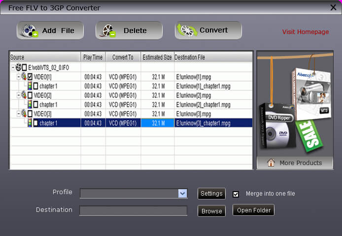 Free FLV to 3GP Converter 4.2.20