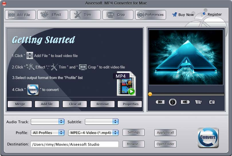 Aiseesoft mp4 converter for mac convert any video to mp4 format on mac mp4 video converter screenshot ccuart Images